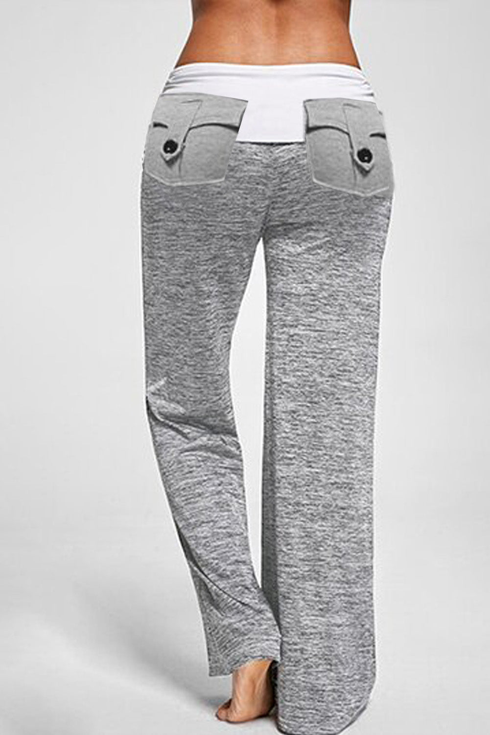 Gray Drawstring Pockets Stretch Wide Leg Yoga Pant Pants & Culotte Discount Designer Fashion Clothes Shoes Bags Women Men Kids Children Black Owned Business