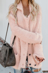 Pink Warm Fuzzy Double Breasted Pocketed Cardigan Sweaters & Cardigans Discount Designer Fashion Clothes Shoes Bags Women Men Kids Children Black Owned Business