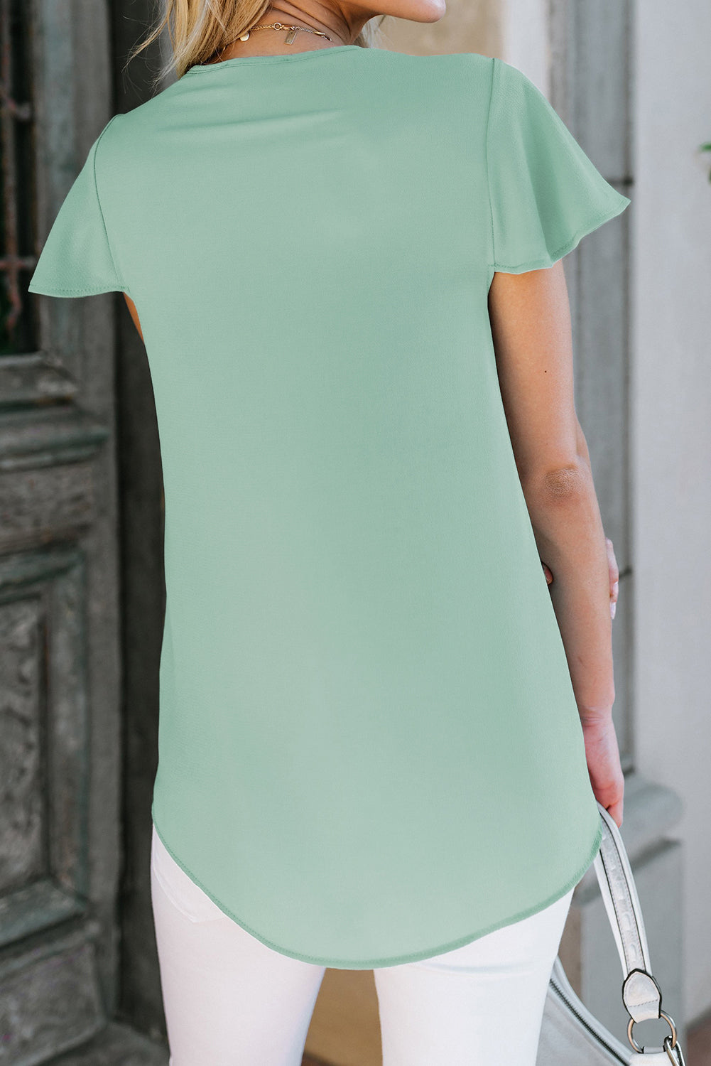 Green V Neck Short Sleeve Tee Tops & Tees Discount Designer Fashion Clothes Shoes Bags Women Men Kids Children Black Owned Business