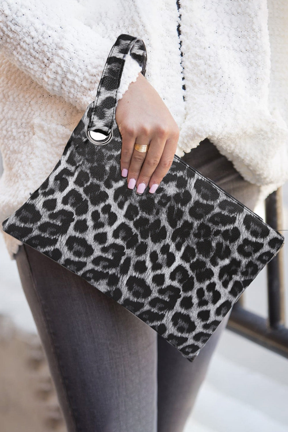 Gray Trendy Leopard Clutch Bags Discount Designer Fashion Clothes Shoes Bags Women Men Kids Children Black Owned Business
