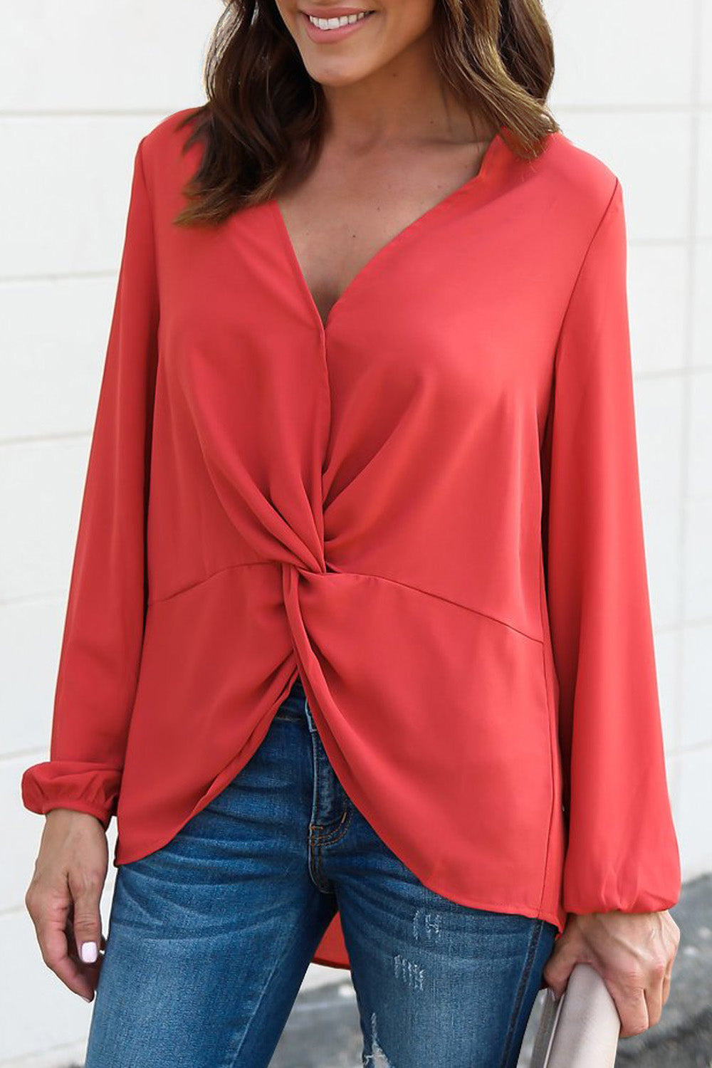 Red Long Sleeve Twist Front Slit Blouse Long Sleeve Tops Discount Designer Fashion Clothes Shoes Bags Women Men Kids Children Black Owned Business