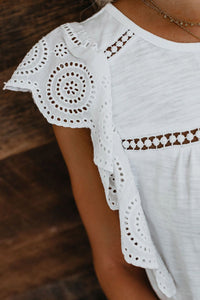 White Hollowed Flutter Sleeve Casual Top Tops & Tees Discount Designer Fashion Clothes Shoes Bags Women Men Kids Children Black Owned Business