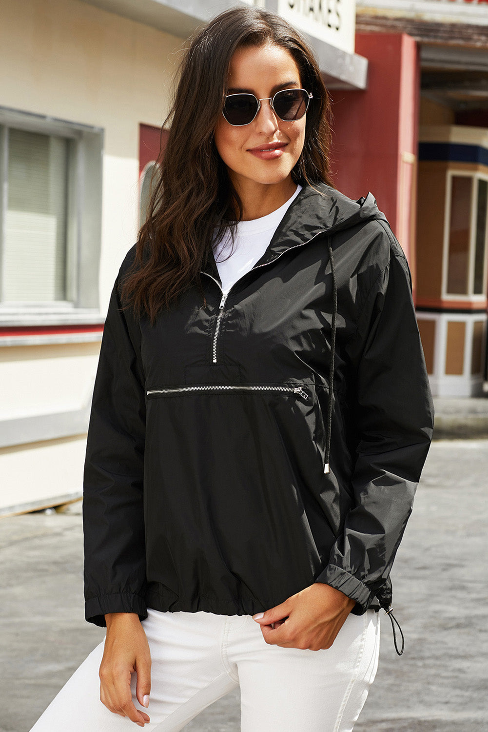 Black Windbreak Jacket Sweatshirts & Hoodies Discount Designer Fashion Clothes Shoes Bags Women Men Kids Children Black Owned Business
