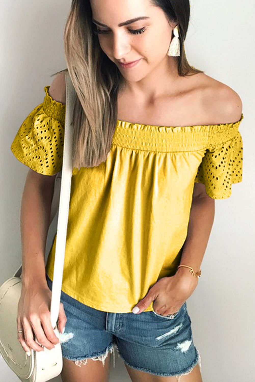 Yellow Solid Shirring Off Shoulder Hollow out Top Blouses & Shirts Discount Designer Fashion Clothes Shoes Bags Women Men Kids Children Black Owned Business