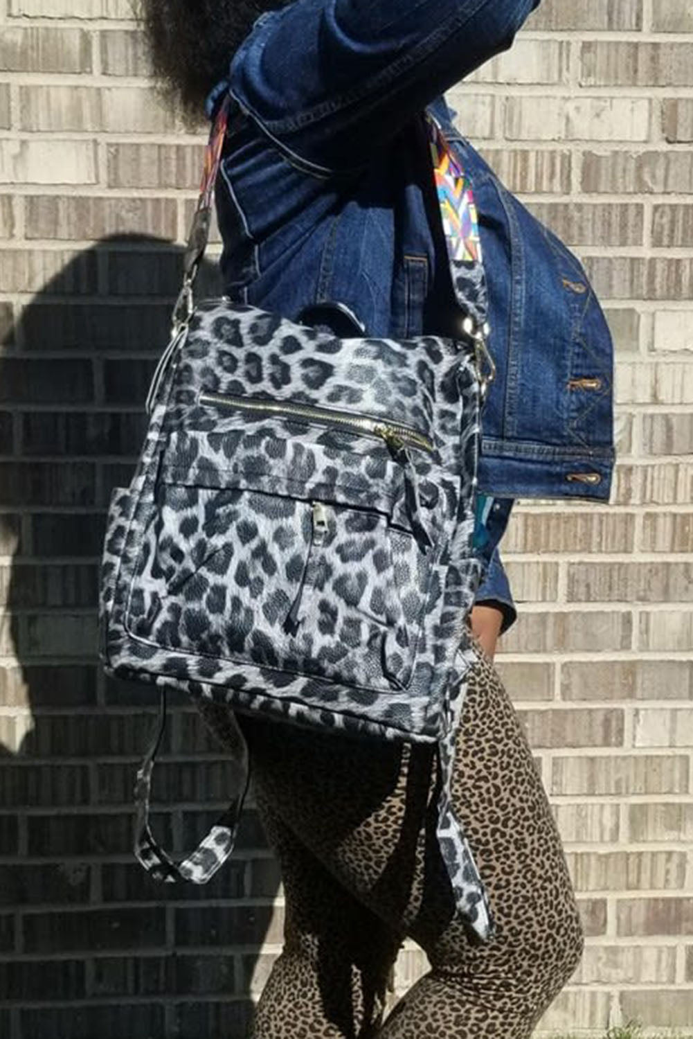 Gray Leopard Travel Backpack Bags Discount Designer Fashion Clothes Shoes Bags Women Men Kids Children Black Owned Business