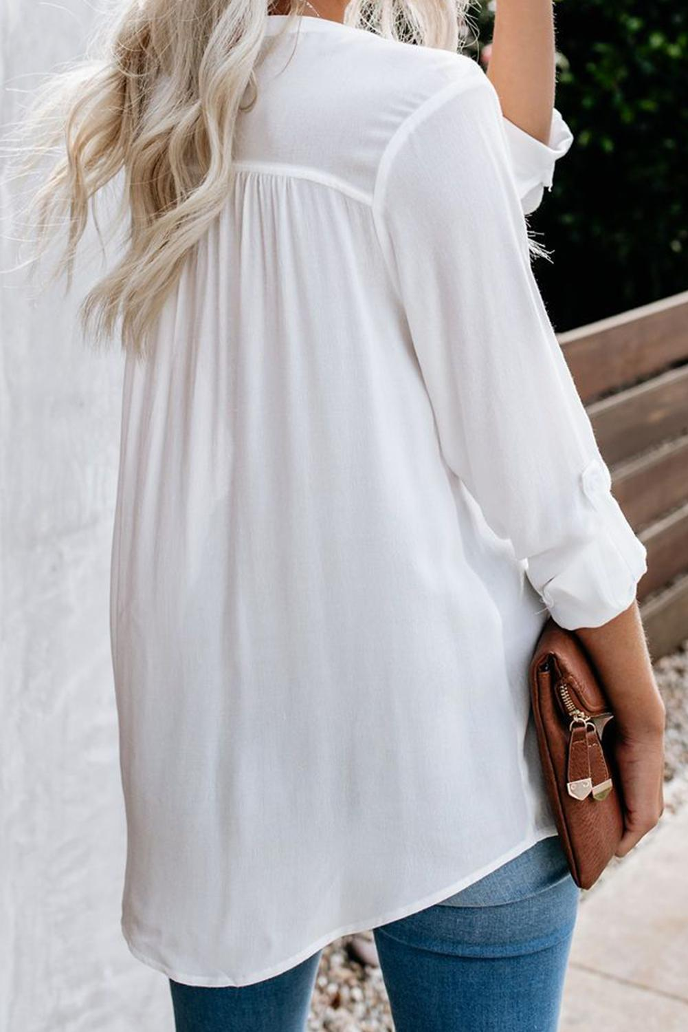 White Take A Break Button Down Pocket Blouse Blouses & Shirts Discount Designer Fashion Clothes Shoes Bags Women Men Kids Children Black Owned Business