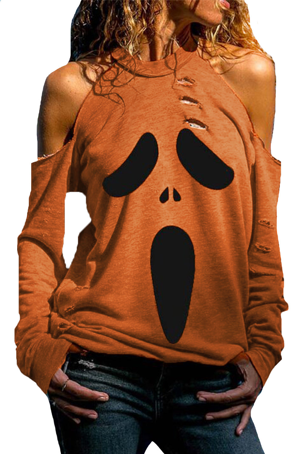 Orange Distressed Halloween Ghost Cold Shoulder Sweatshirt Sweatshirts & Hoodies Discount Designer Fashion Clothes Shoes Bags Women Men Kids Children Black Owned Business
