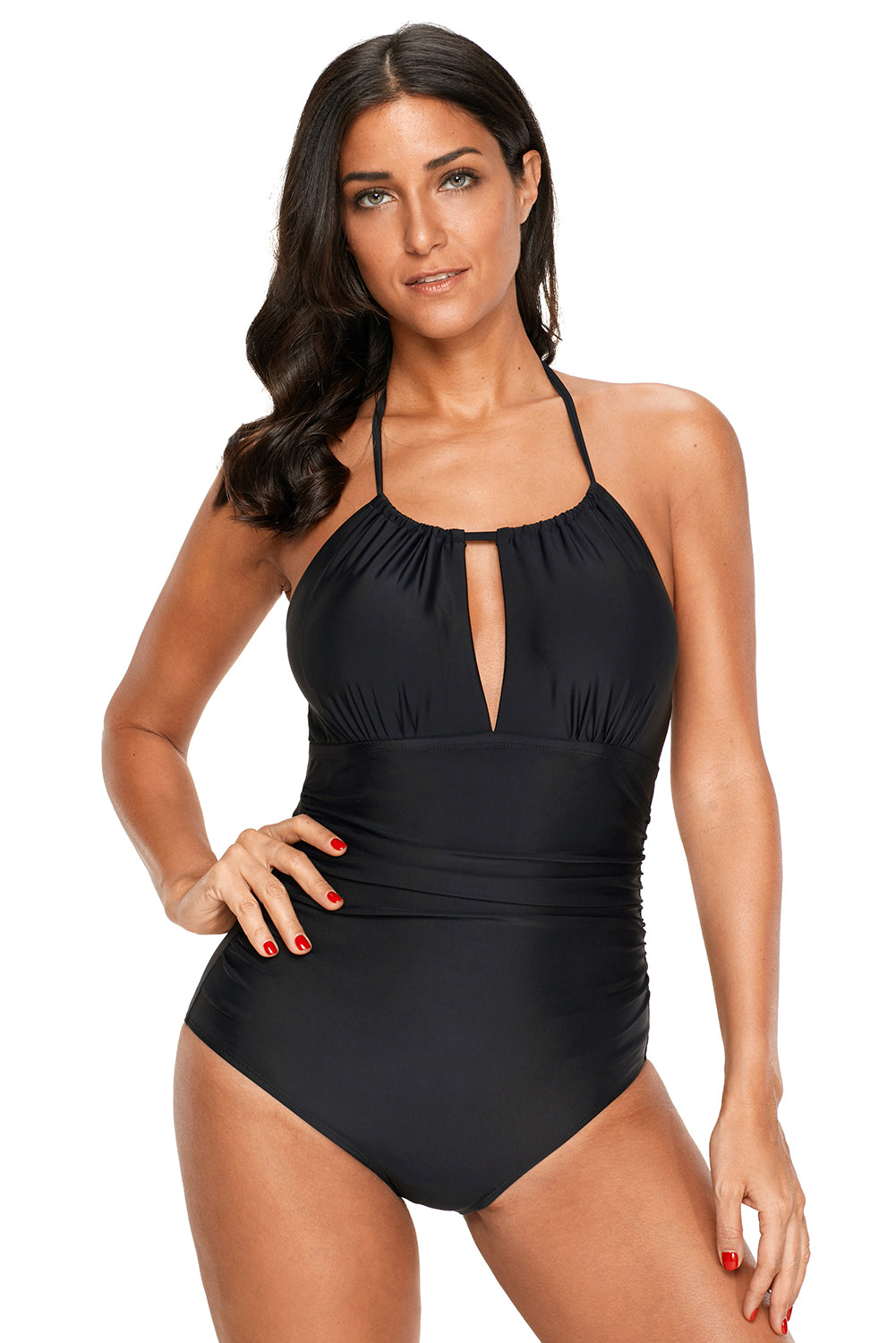 Black High Waisted Halter One-Piece Swimsuit One-Piece Swimwear Discount Designer Fashion Clothes Shoes Bags Women Men Kids Children Black Owned Business