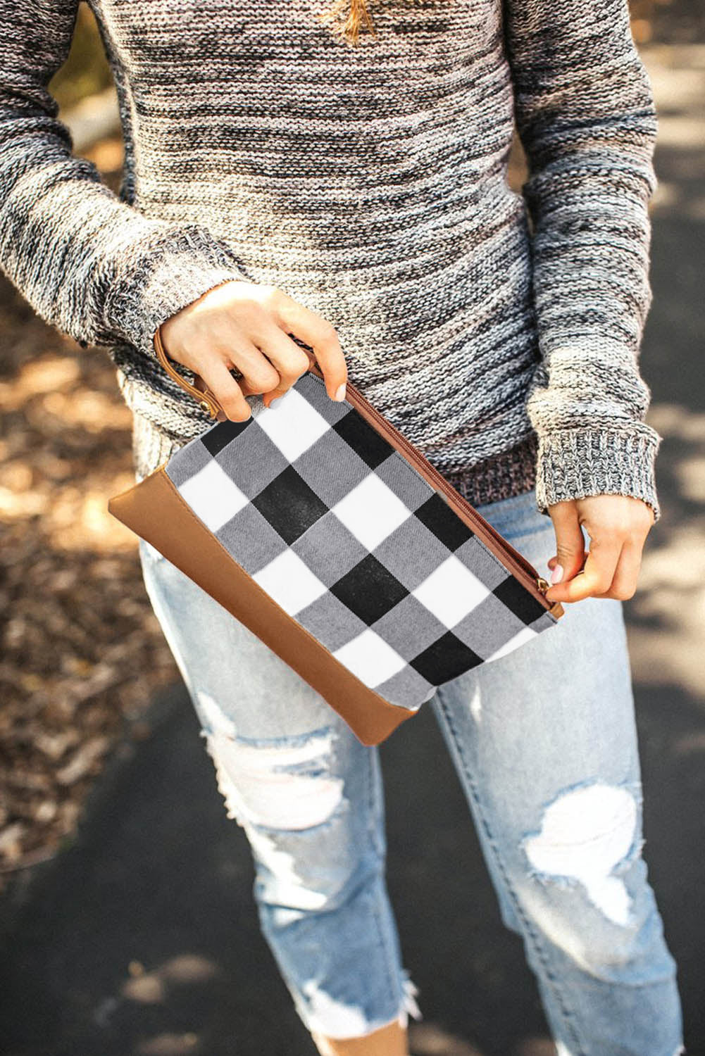Black Plaid Print Clutch with PU Accent Bags Discount Designer Fashion Clothes Shoes Bags Women Men Kids Children Black Owned Business