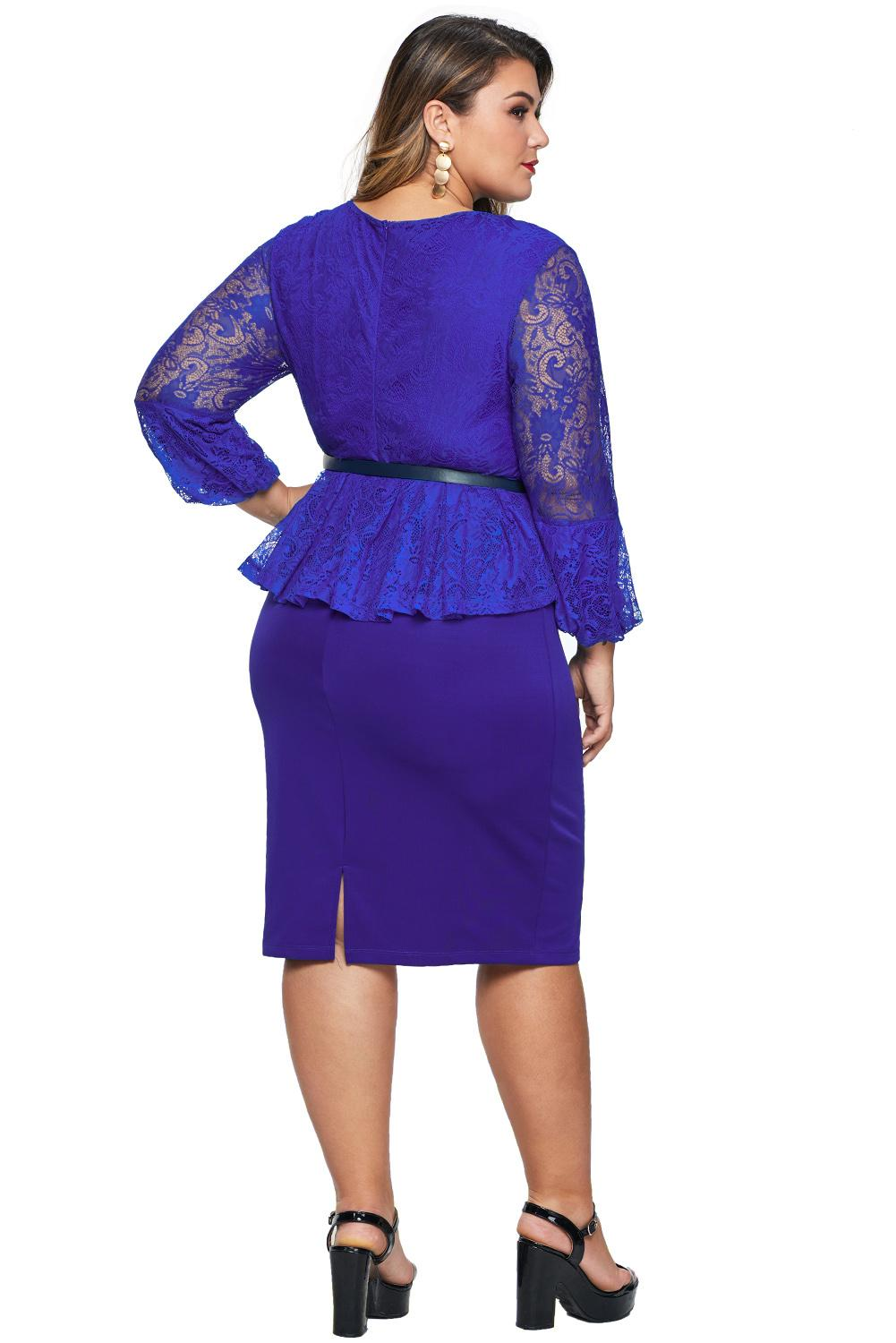 Blue Plus Size Lace Bodice Peplum Dress with Belt Plus Size Dresses Discount Designer Fashion Clothes Shoes Bags Women Men Kids Children Black Owned Business