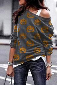 Gray Pumpkin Print Sweatshirt Sweatshirts & Hoodies Discount Designer Fashion Clothes Shoes Bags Women Men Kids Children Black Owned Business