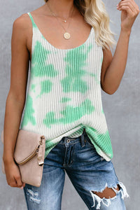 Green Tie Dye Print Knit Tank Top Tank Tops Discount Designer Fashion Clothes Shoes Bags Women Men Kids Children Black Owned Business