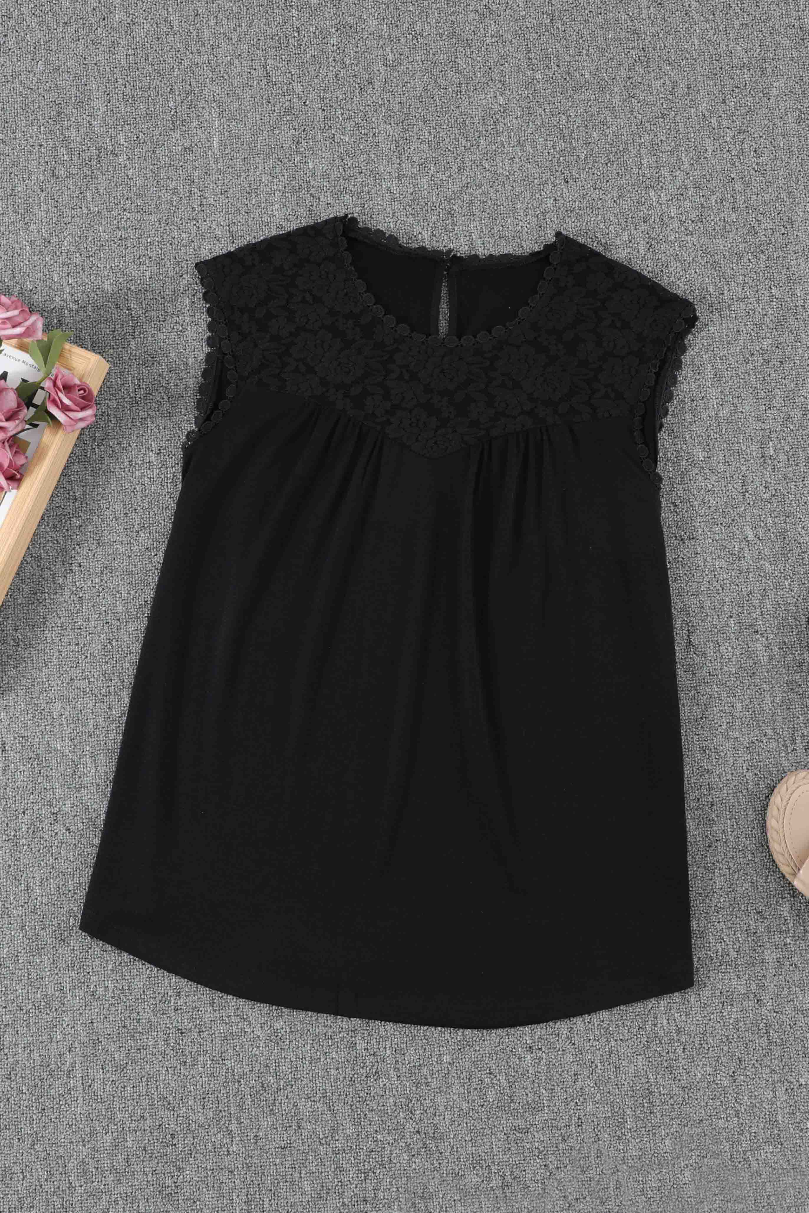 Black Sleeveless Top with Lace Detail - JT's Designer Fashion