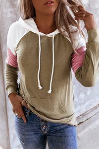 Spliced Sleeve Khaki Hoodie with Pocket Sweatshirts & Hoodies Discount Designer Fashion Clothes Shoes Bags Women Men Kids Children Black Owned Business