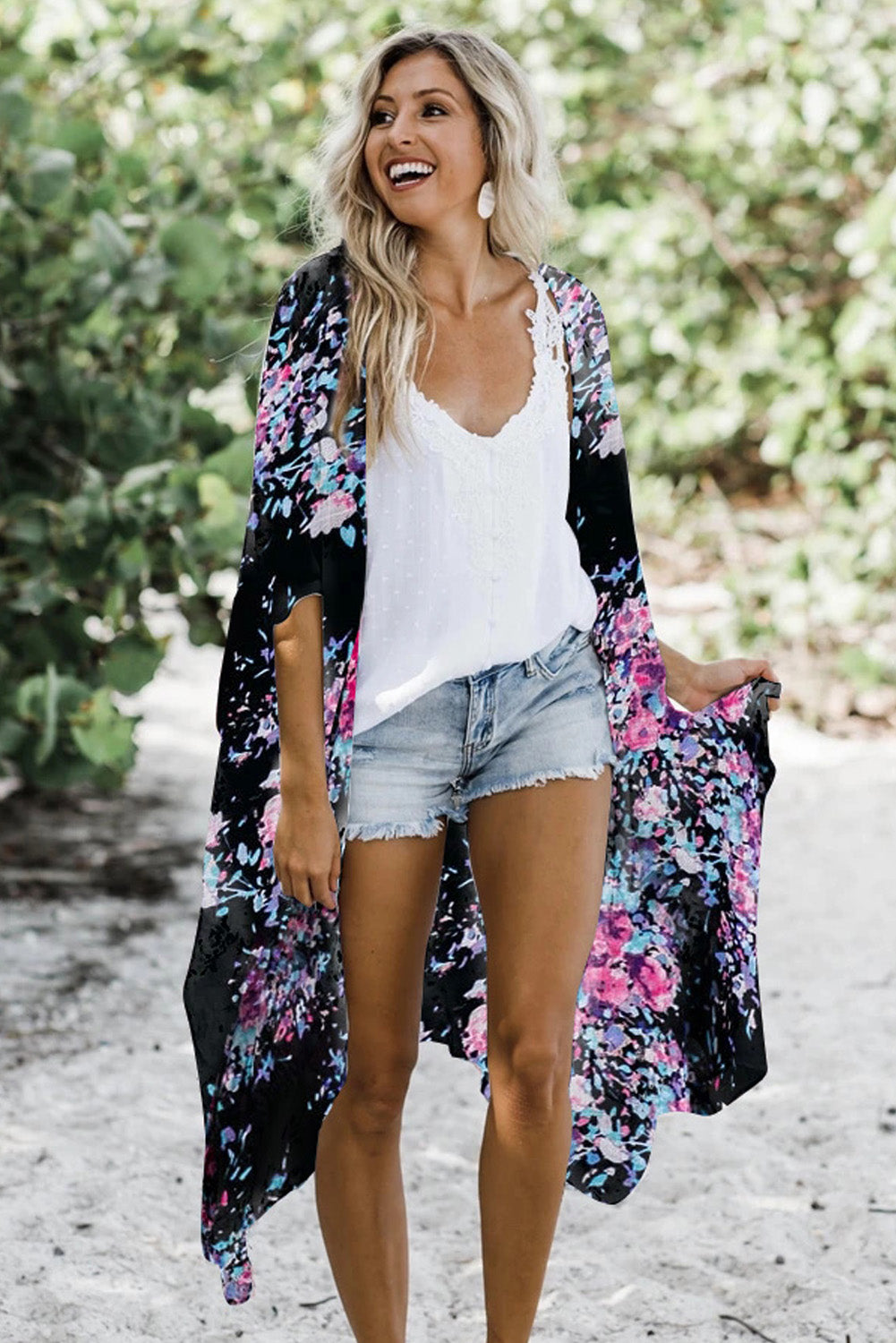 Black Floral Kimono Sleeves Chiffon Loose Beach Cover Up Beach Cover-ups Discount Designer Fashion Clothes Shoes Bags Women Men Kids Children Black Owned Business