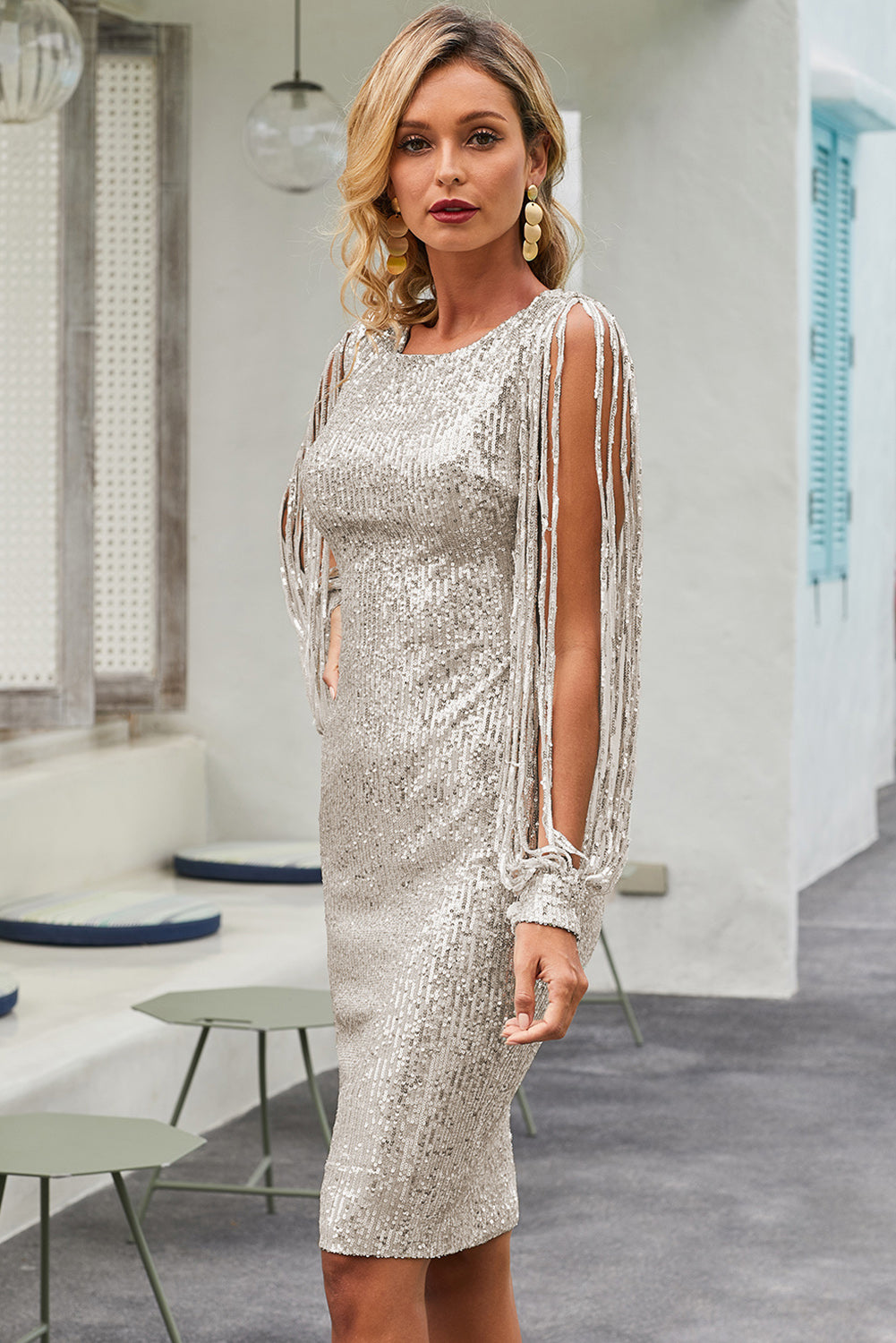 Silver Sequin Tassel Sleeve Bodycon Evening Dress - JT's Designer Fashion
