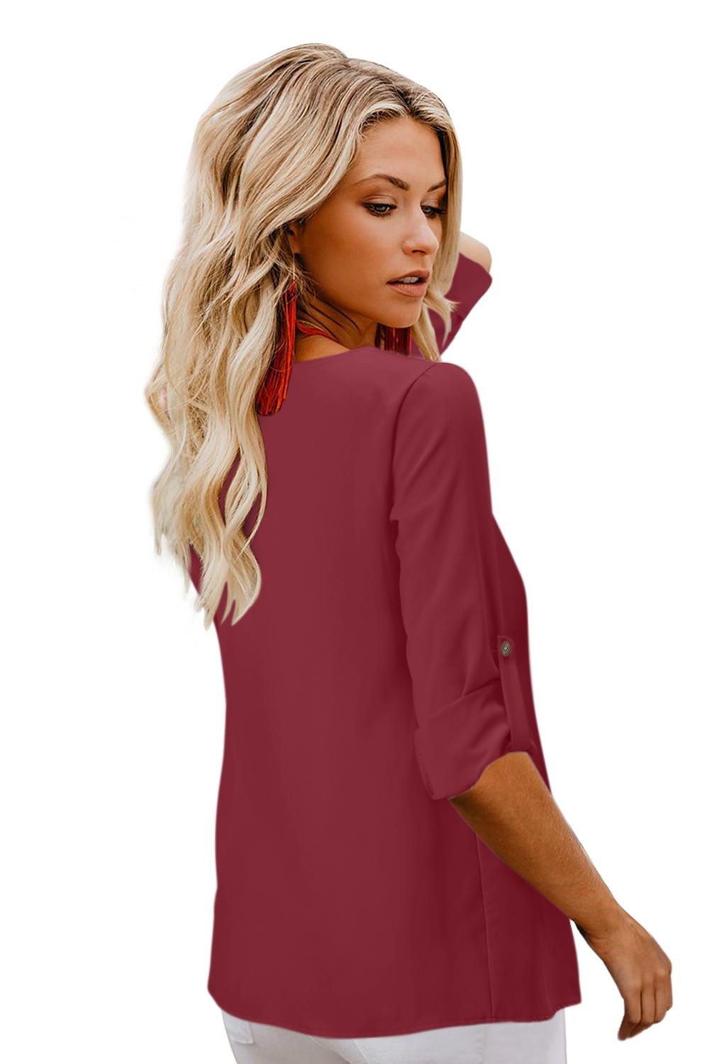 Red Button Detail Roll up Sleeve Blouse Blouses & Shirts Discount Designer Fashion Clothes Shoes Bags Women Men Kids Children Black Owned Business