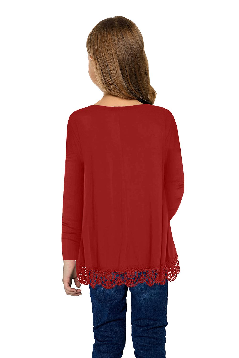 Red Long Sleeve Lace Trim O-neck A-line Tunic Blouse Girls Tops Discount Designer Fashion Clothes Shoes Bags Women Men Kids Children Black Owned Business