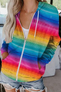 Multicolor Tie-Dyed Zipper Pocket Drawstring Hooded Jacket Sweatshirts & Hoodies Discount Designer Fashion Clothes Shoes Bags Women Men Kids Children Black Owned Business