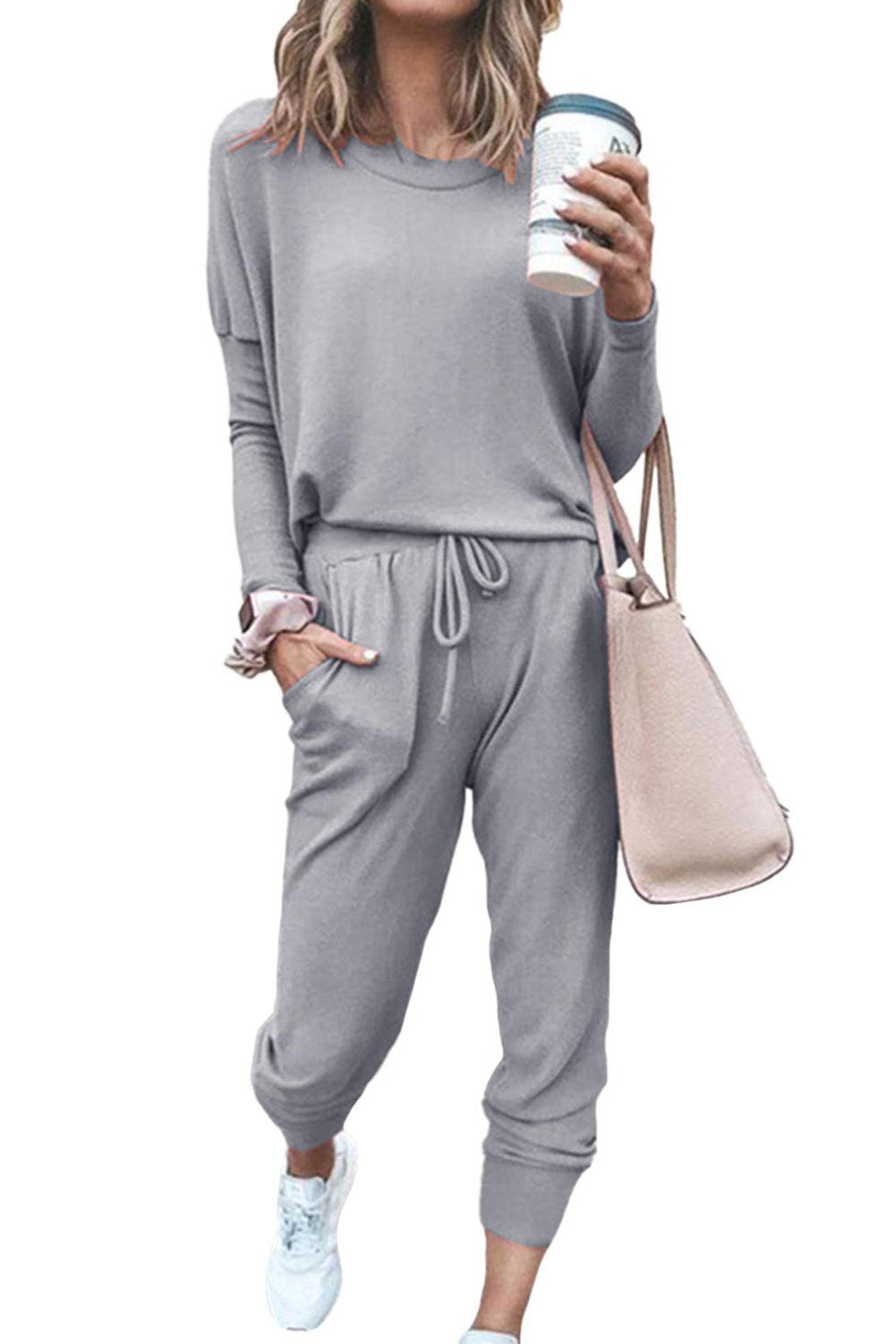 Gray Star Print Two-Piece Set Sports Wear Lounge Sets Discount Designer Fashion Clothes Shoes Bags Women Men Kids Children Black Owned Business