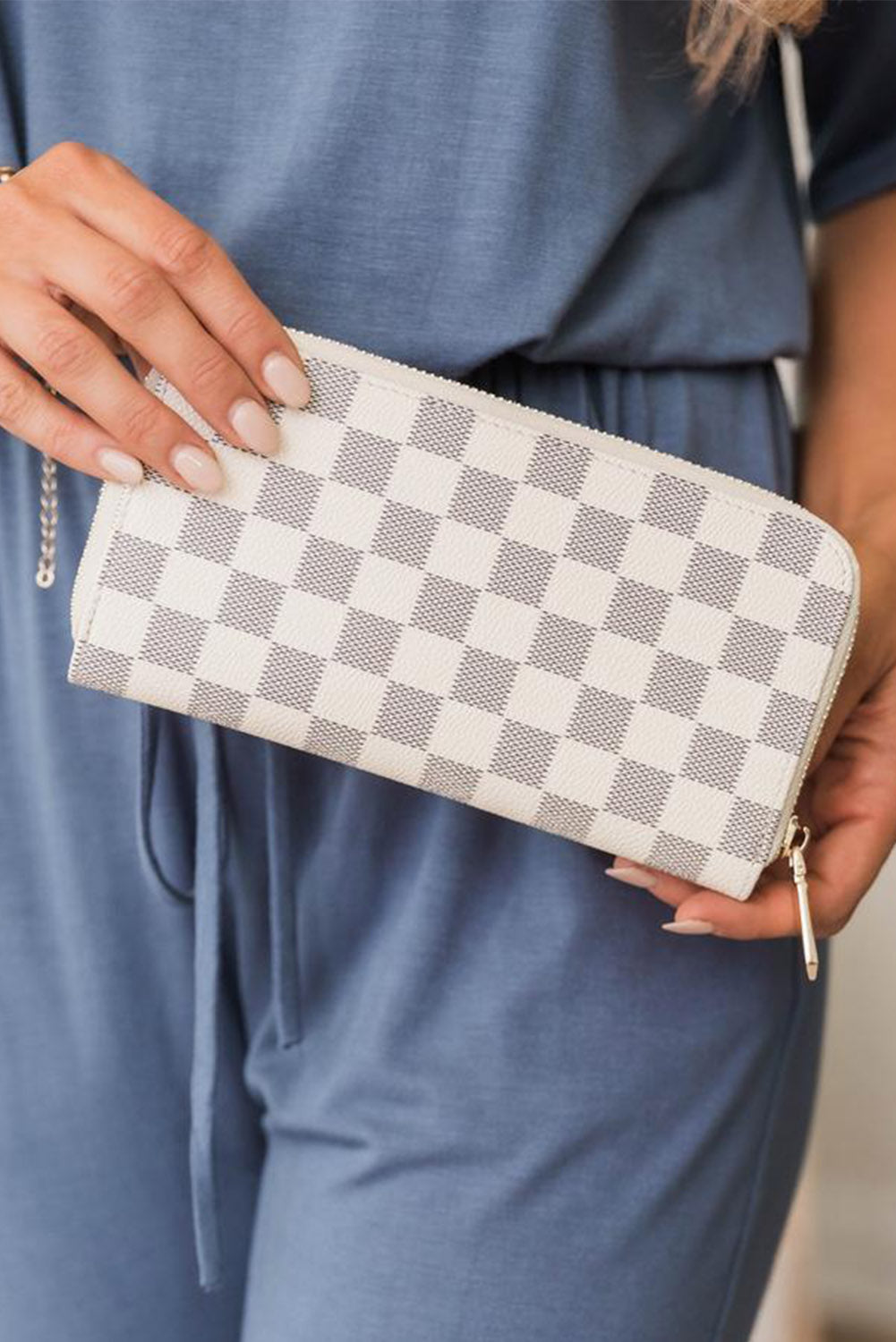 White Timeless Checkered Faux Leather Wallet Bags Discount Designer Fashion Clothes Shoes Bags Women Men Kids Children Black Owned Business