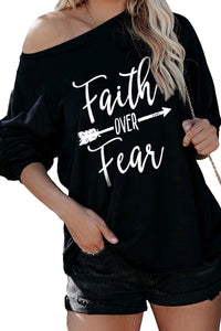Faith OVER Fear Black Shirt Long Sleeve Tops Discount Designer Fashion Clothes Shoes Bags Women Men Kids Children Black Owned Business