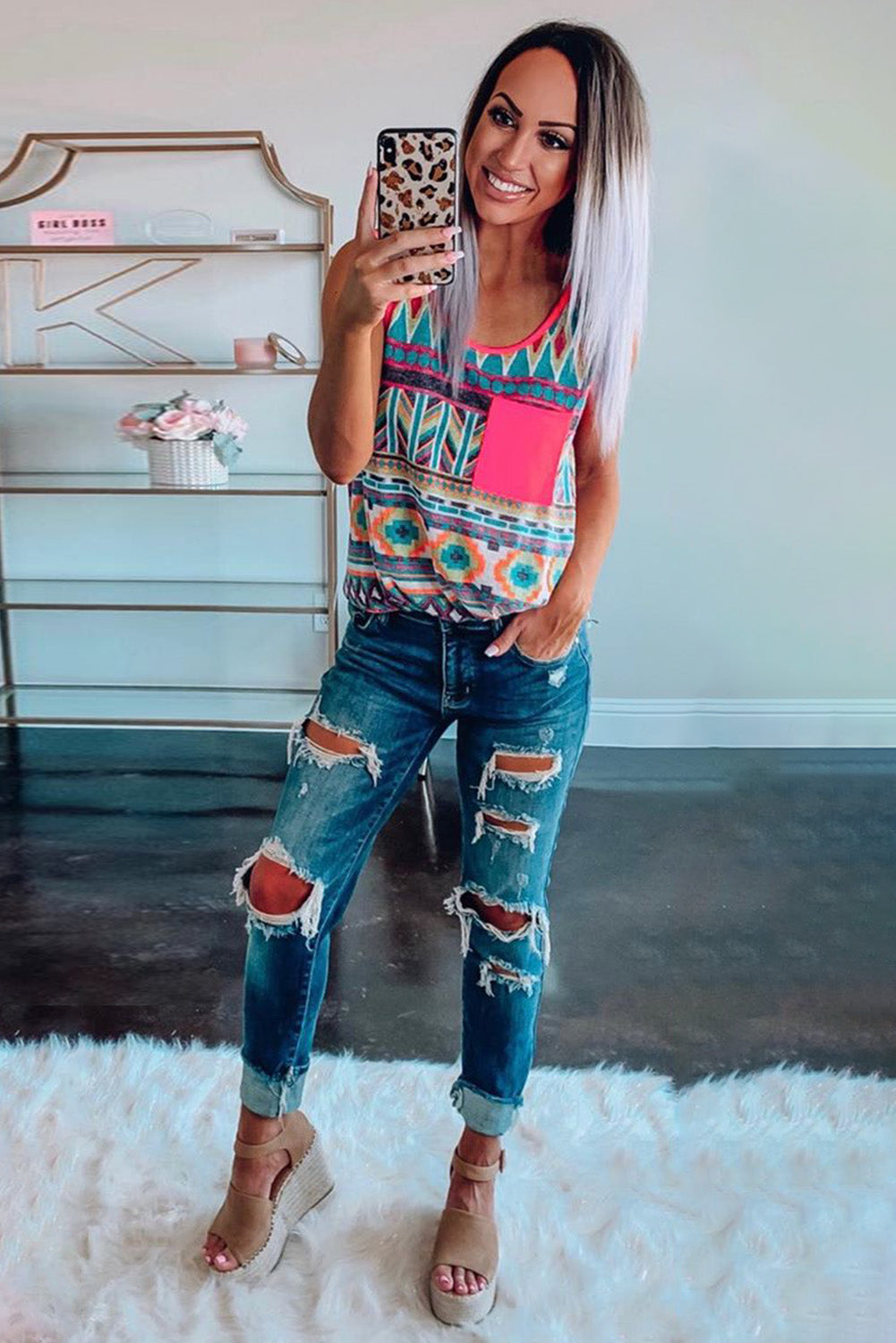 Multicolor Boho Print Tank Top with Pocket Tank Tops Discount Designer Fashion Clothes Shoes Bags Women Men Kids Children Black Owned Business