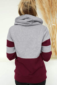 Red Color Block Long Sleeve Crewneck Pullover Hoodie Sweatshirts & Hoodies Discount Designer Fashion Clothes Shoes Bags Women Men Kids Children Black Owned Business