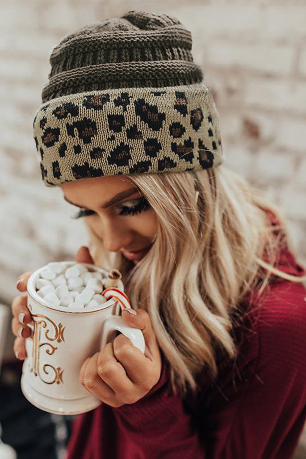 Gray Knitted Leopard Beanie Others Discount Designer Fashion Clothes Shoes Bags Women Men Kids Children Black Owned Business