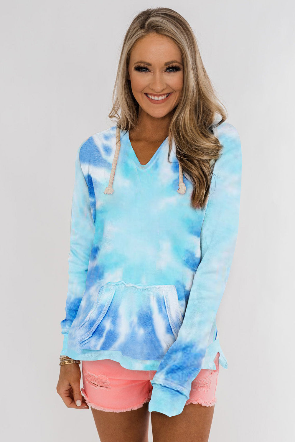 Sky Blue Tie-dye Pattern Drawstring Pullover Hoodie Sweatshirts & Hoodies Discount Designer Fashion Clothes Shoes Bags Women Men Kids Children Black Owned Business