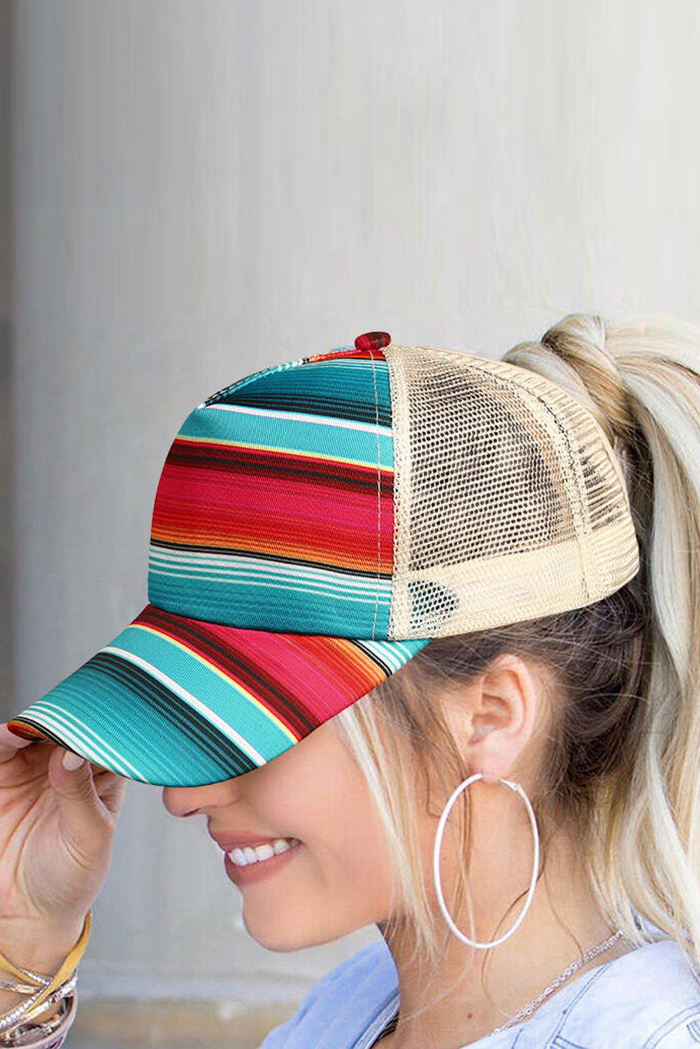 Rainbow Striped Criss-Cross Mesh Splicing Baseball Cap Hats & Caps Discount Designer Fashion Clothes Shoes Bags Women Men Kids Children Black Owned Business