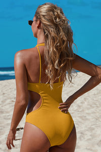 Yellow Frilled Neck Cut-out Ribbed One-piece Swimwear One-Piece Swimwear Discount Designer Fashion Clothes Shoes Bags Women Men Kids Children Black Owned Business