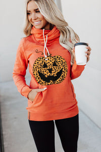 Orange Cowl Neck Pumpkin Print Halloween Hoodie Sweatshirts & Hoodies Discount Designer Fashion Clothes Shoes Bags Women Men Kids Children Black Owned Business