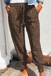 Brown Breezy Leopard Joggers Lounge Bottoms Discount Designer Fashion Clothes Shoes Bags Women Men Kids Children Black Owned Business