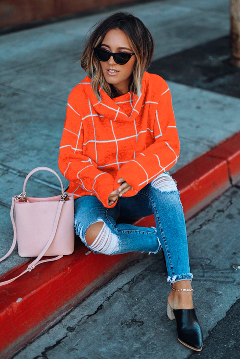 Orange Grid Pattern Turtleneck Sweater Sweaters & Cardigans Discount Designer Fashion Clothes Shoes Bags Women Men Kids Children Black Owned Business