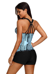 Sky Blue Stripes Strappy Back Tankini Top Swim Tops Discount Designer Fashion Clothes Shoes Bags Women Men Kids Children Black Owned Business