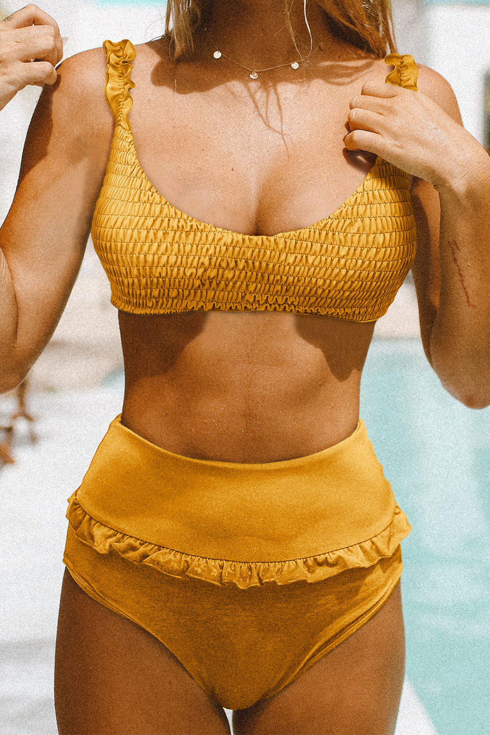 Yellow Smocked High Waist Bikini Set High Waist Swimwear Discount Designer Fashion Clothes Shoes Bags Women Men Kids Children Black Owned Business