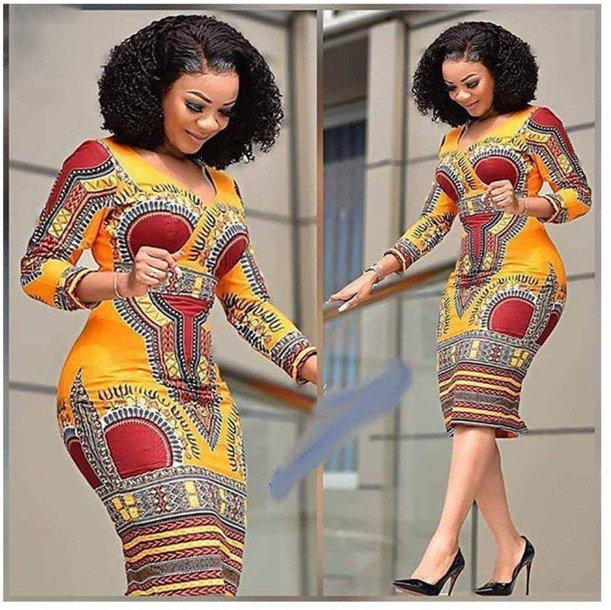 Ladies Colorful Geometric Dress African