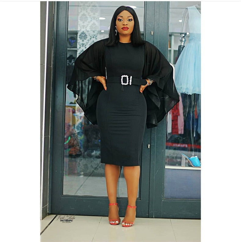 Women's Pencil Dress with Bell Sleeves Plus Size Dresses Discount Designer Fashion Clothes Shoes Bags Women Men Kids Children Black Owned Business
