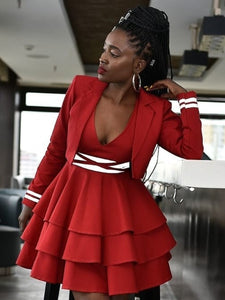 Striking Bare-Back Skater Dress with Jacket Plus Size Dresses Discount Designer Fashion Clothes Shoes Bags Women Men Kids Children Black Owned Business