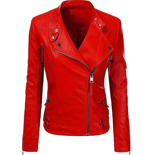 NItz Red Leather Jacket for Women