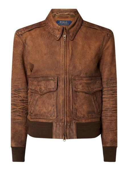 Nitz Vintage look leather jacket – medium brown