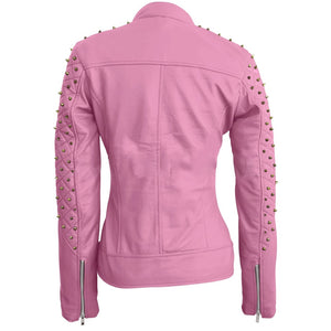 Nitz Women Pink Quilted Gold Studded Genuine Leather Jacket