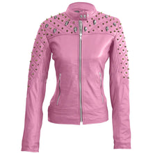 Load image into Gallery viewer, Nitz Women Pink Quilted Gold Studded Genuine Leather Jacket