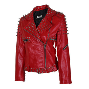 Nitz Women Red Leather Jacket With Cone