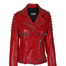 Load image into Gallery viewer, Nitz Women Red Leather Jacket With Cone