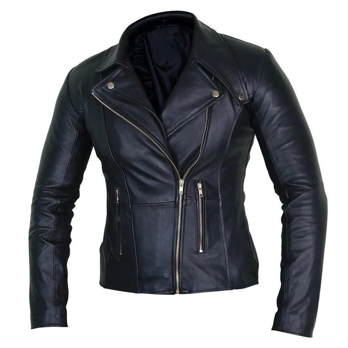 Nitz Elegant Black Leather Biker Jacket For Women