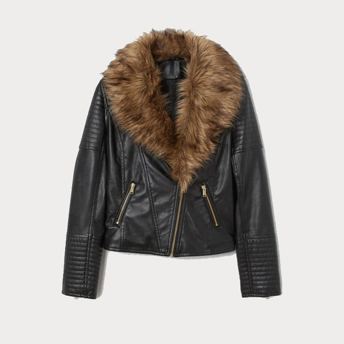 Nitz Biker leather jacket with fur
