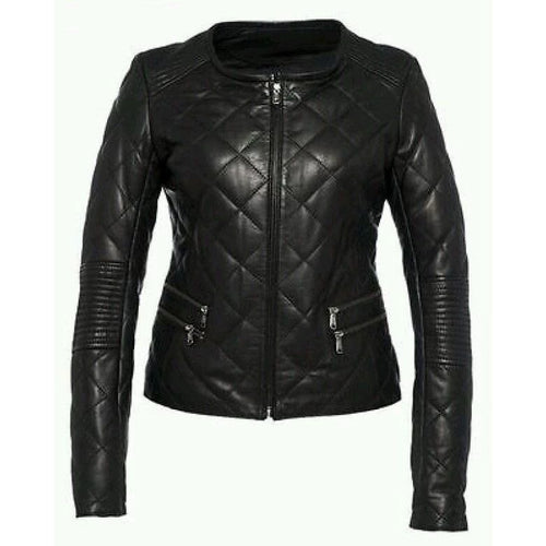 Nitz Women Black Handmade Premium Leather Jacket