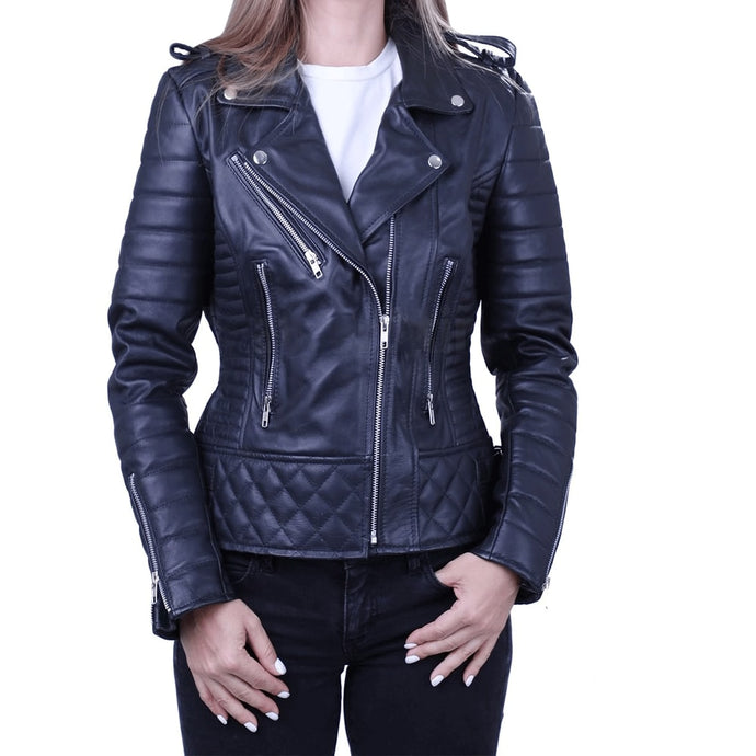 Nitz Women Black Biker Leather Jacket